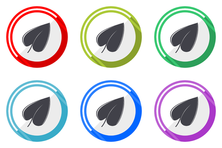 Leaf vector icon set. Colorful flat design web icons on white background in eps 10.