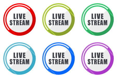 Live stream vector icon set. Colorful flat design web icons on white background in eps 10.