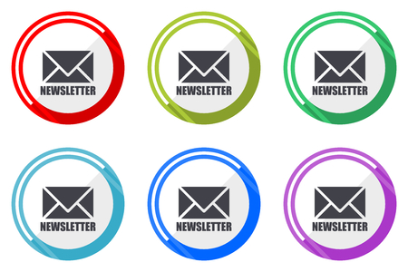 Newsletter vector icon set. Colorful flat design web icons on white background in eps 10.