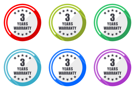 Warranty guarantee 3 year vector icon set. Colorful flat design web icons on white background in eps 10.