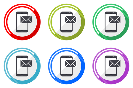 Mail vector icon set. Colorful flat design web icons on white background in eps 10. Illustration