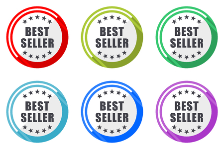 Best seller vector icon set. Colorful flat design web icons on white background in eps 10. Ilustração