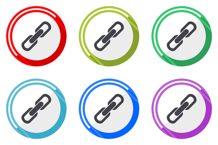 Link vector icon set. Colorful flat design web icons on white background in eps 10.