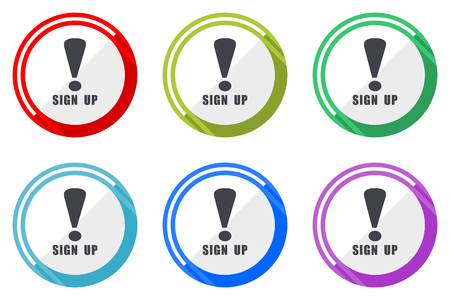Sign up vector icon set. Colorful flat design web icons on white background in eps 10.