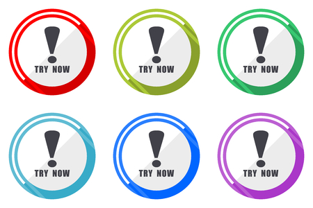 Try now vector icon set. Colorful flat design web icons on white background in eps 10.