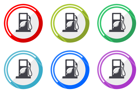 Biofuel vector icon set. Colorful flat design web icons on white background in eps 10.