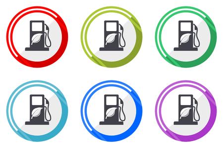 Conjunto de iconos de vector de biocombustible. Iconos web de diseño plano colorido sobre fondo blanco en eps 10.