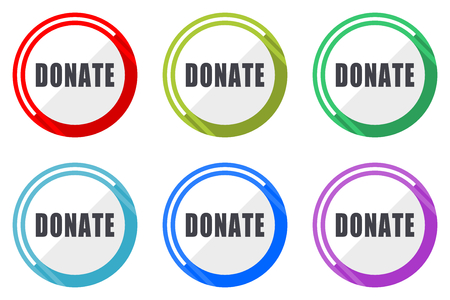 Donate vector icon set. Colorful flat design web icons on white background in eps 10.