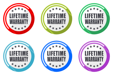 Lifetime warranty vector icon set. Colorful flat design web icons on white background in eps 10.