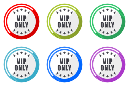 Vip only vector icon set. Colorful flat design web icons on white background in eps 10. Illustration