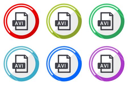 Avi file vector icon set. Colorful flat design web icons on white background