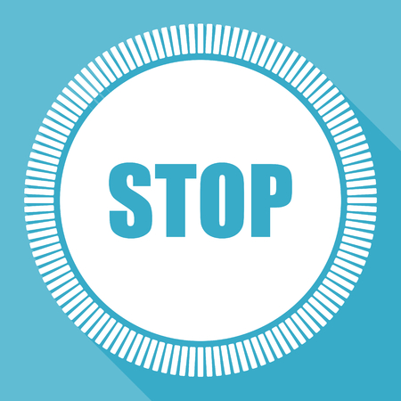Stop editable flat vector icon, square web button, blue computer and smartphone application sign in eps 10 Illustration