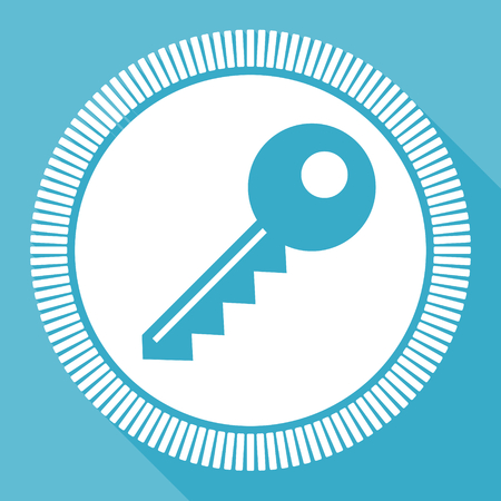 Key editable flat vector icon, square web button, blue computer and smartphone application sign in eps 10 Ilustração