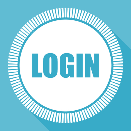 Login editable flat vector icon, square web button, blue computer and smartphone application sign in eps 10