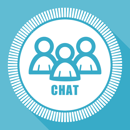 Chat editable flat vector icon, square web button, blue computer and smartphone application sign in eps 10 Illustration