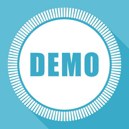Demo editable flat vector icon, square web button, blue computer and smartphone application sign in eps 10