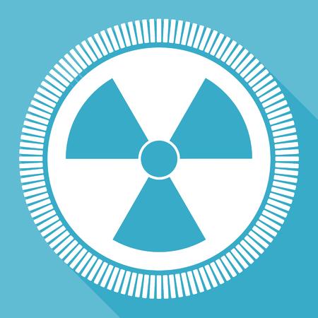 Icono de vector plano editable de radiación, botón web cuadrado, computadora azul y aplicación de teléfono inteligente firman en eps 10