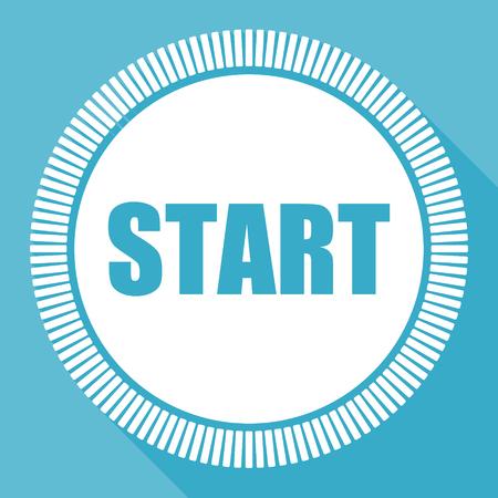 Starten Sie das bearbeitbare flache Vektorsymbol, die quadratische Webschaltfläche, den blauen Computer und die Smartphone-Anwendung, und melden Sie sich bei EPS 10 an