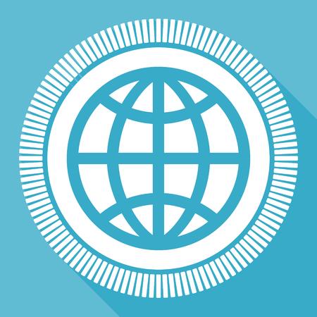 Earth blue flat design vector icon, square web globe button