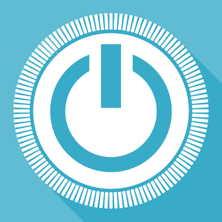 Power blue flat design vector icon, square web energy button Illustration