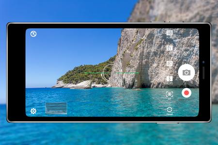 Smartphone camera application photography realistic illustration