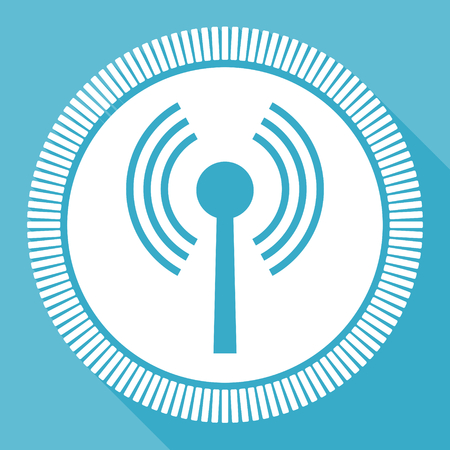 Wifi editable flat vector icon, wireless square web button, blue computer and smartphone application sign in eps 10