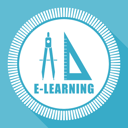 Learning editable flat vector icon, education square web button, school blue computer and smartphone application sign in eps 10 Ilustracja