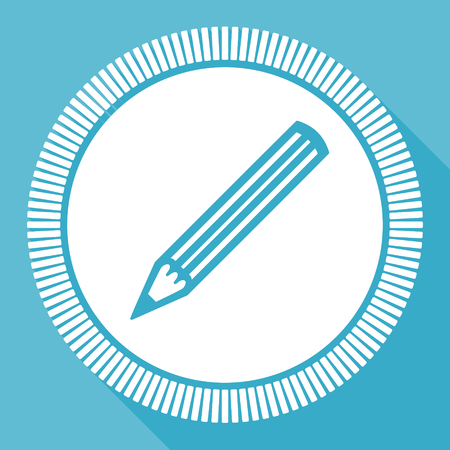 Pencil editable flat vector icon, design square web button, draw blue computer and smartphone application sign in eps 10 Ilustrace