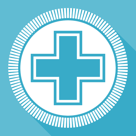 Pharmacy editable flat vector icon, square web button, blue computer and smartphone application sign in eps 10