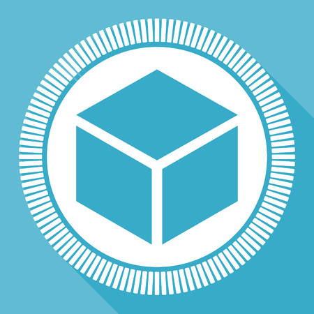 Box editable flat vector icon, square web button, blue computer and smartphone application sign in eps 10 矢量图像