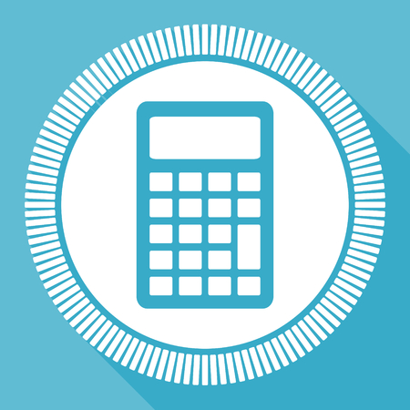 Calculator editable flat vector icon, calculate square web button, blue computer and smartphone application sign in eps 10