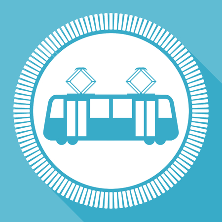 Tram editable flat vector icon, tramway square web button, public transport blue computer and smartphone application sign in eps 10 Illustration