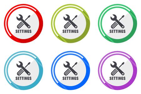 Paramètres de la collection d'icônes vectorielles à plat modifiables, boutons web en cercle rond, ensemble de panneaux d'application pour ordinateur et smartphone colorés faciles à modifier