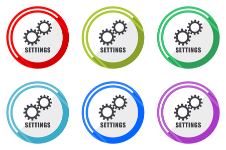 Settings editable flat vector icons collection, round circle web buttons, set of colorful computer and smartphone application signs easy to edit