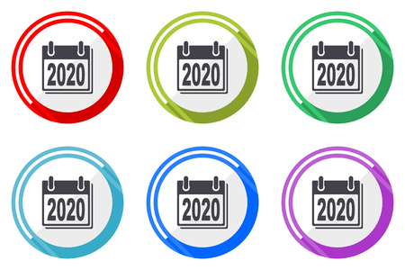 New year 2020 editable flat vector icons collection, round circle web buttons, set of colorful computer and smartphone application signs easy to edit