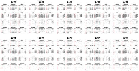 Ten years simple editable vector calendars for year 2019 2020 2021 2022 2023 2024 2025 2026 2027 2028 sundays in red first Vettoriali