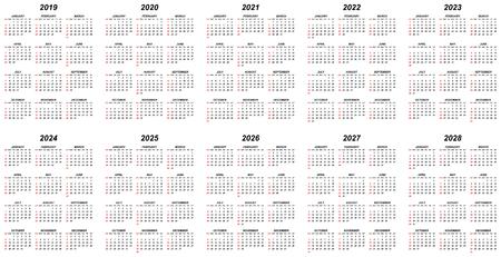 Calendarios vectoriales editables simples de diez años para el año 2019 2020 2021 2022 2023 2024 2025 2026 2027 2028 domingos en rojo primero Ilustración de vector