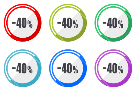 40 percent sale retail editable flat vector icons collection, round circle web buttons, set of colorful computer and smartphone application signs easy to edit