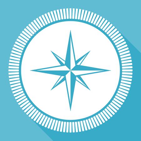Compass flat vector icon, navigation square blue web button Illustration