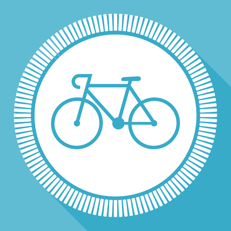 Bicycle flat vector icon, bike square blue web button