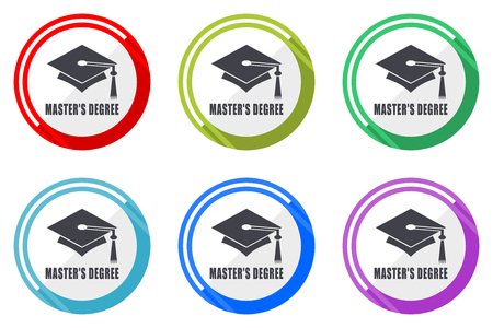 Masters degree flat vector web icon set, colorful round internet buttons in eps 10 isolated on white background