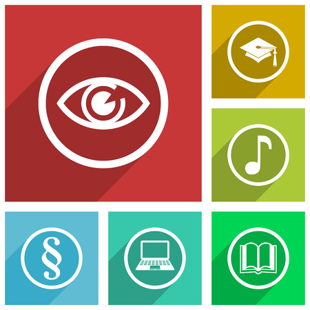 Web and internet science and education vector icons, eye, graduation, note, book, laptop, law flat design banners in eps 10.  イラスト・ベクター素材