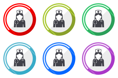 Nurse flat vector web icon set, colorful round internet buttons in eps 10 isolated on white background