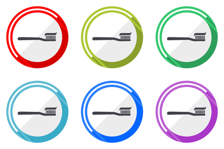 Toothbrush flat vector web icon set, colorful round internet buttons in eps 10 isolated on white background