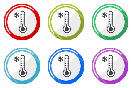 Cold thermometer flat vector web icon set, colorful round internet buttons in eps 10 isolated on white background Illusztráció