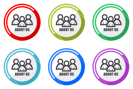 About us flat vector web icon set, colorful round internet buttons in eps 10 isolated on white background
