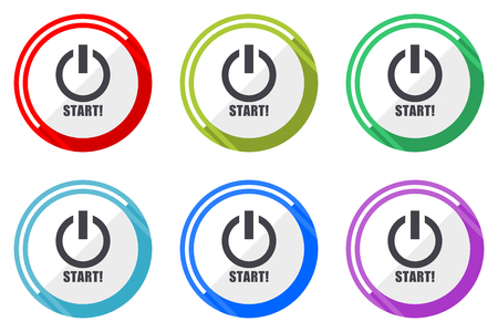 Start flat vector web icon set, colorful round internet buttons in eps 10 isolated on white background