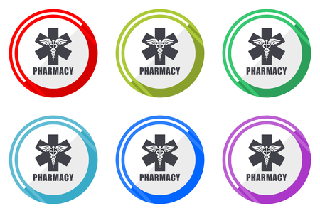 Pharmacy flat vector web icon set, colorful round internet buttons in eps 10 isolated on white background