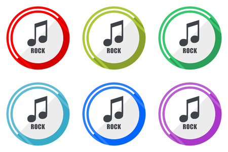 Rock music flat vector web icon set, colorful round internet buttons in eps 10 isolated on white background