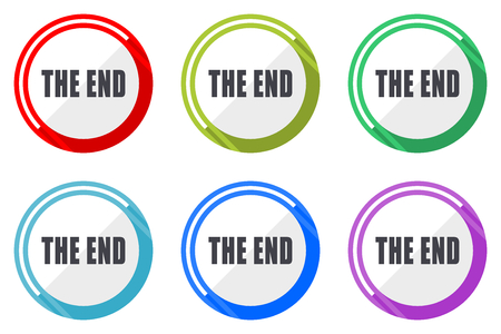 The end flat vector web icon set, colorful round internet buttons in eps 10 isolated on white background